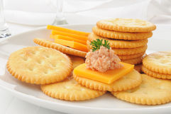 Ham and cheese on crackers Royalty Free Stock Photography