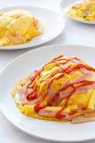 Ham and cheese creamy omelet. Royalty Free Stock Photos