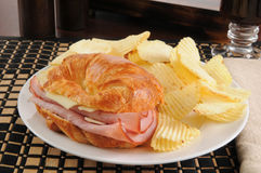 Ham and cheese croissant Stock Images