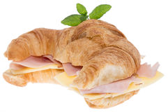 Ham and Cheese Croissant on white Stock Image