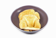 Ham Cheese croissants in the plate on white background Stock Images