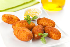 Ham and cheese croquettes royalty free stock photo