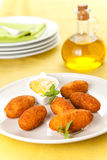 Ham and cheese croquettes Stock Photos