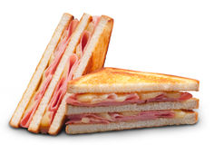 Ham and cheese double panini sandwich. A hot ham and cheese double panini sandwich cut in halves on white background