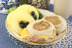 Ham and Cheese English Muffin Breakfast Stock Photo