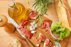 Ham, cheese and figs Stock Photo