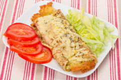 Ham and cheese filled savoury crepes Royalty Free Stock Image