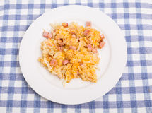 Ham and Cheese Hashbrowns on White Plate