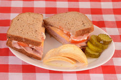 Ham and Cheese on Multi Grain Bread Royalty Free Stock Photo