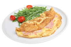 Ham & Cheese Omelet. With rocket and tomato salad stock images