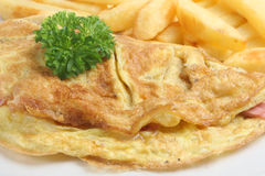 Ham & Cheese Omelet with Chips Royalty Free Stock Image