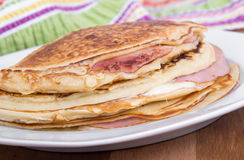 Ham and cheese pancake breakfast Royalty Free Stock Photo