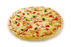 Ham and cheese pizza Royalty Free Stock Photo