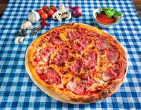 Ham and cheese pizza royalty free stock images