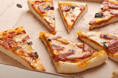 Ham and Cheese Pizza in a Box Stock Photo