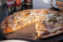 Ham and cheese pizza Royalty Free Stock Image