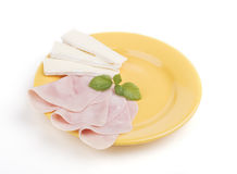Ham and cheese on a plate Stock Image