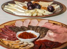 Ham and cheese platters large plates Stock Photos