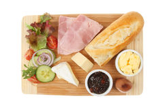 Ham cheese ploughmans Royalty Free Stock Images