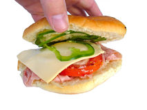 Ham and cheese roll. Ham salad roll royalty free stock image