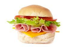 Ham & Cheese Salad Roll Stock Image