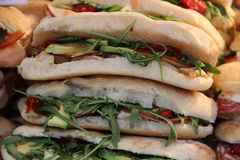 Ham cheese salad sandwiches deli. On a market stall Stock Images