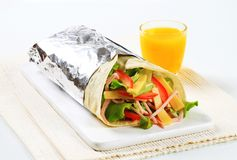Ham and cheese salad wrap sandwich Royalty Free Stock Photos