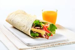 Ham and cheese salad wrap sandwich Royalty Free Stock Photography