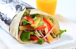 Ham and cheese salad wrap sandwich Stock Photos