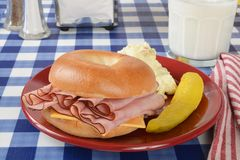 Ham and cheese sandwich on a bagel Stock Images