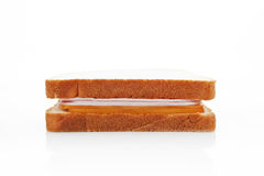 Ham and cheese sandwich isolated. Royalty Free Stock Images