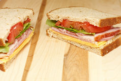 Ham and Cheese Sandwich with Lettuce and Tomato Royalty Free Stock Photography