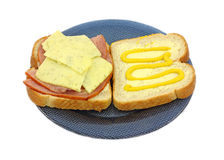 Ham Cheese Sandwich Overhead View Stock Photo