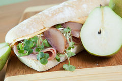 Ham and cheese sandwich with poached pears Stock Photo