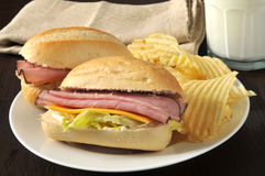 Ham and cheese sandwich Royalty Free Stock Photos