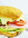 Ham and cheese sandwich with tomatoes, mayo and lettuce Stock Photography