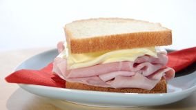 Ham and cheese sandwich stock video footage