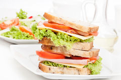 Ham and cheese sandwiches Royalty Free Stock Photography