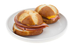 Ham and cheese sandwiches on a plate Royalty Free Stock Images