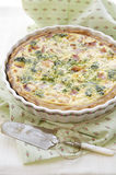 Ham, cheese and spinach quiche Royalty Free Stock Images