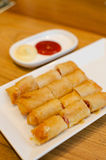 Ham and cheese spring rolls Stock Photo