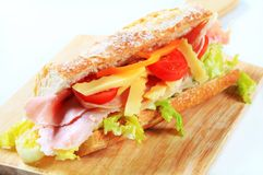 Ham and cheese sub sandwich Stock Image