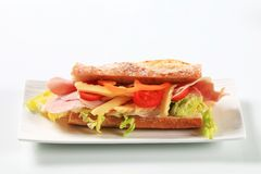 Ham and cheese sub sandwich Royalty Free Stock Image