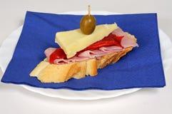 Ham and cheese tapas, Spain. Royalty Free Stock Photos