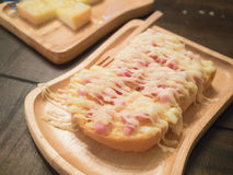 Ham and cheese toast Stock Photos
