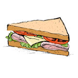 Ham, cheese, tomato and lettuce sandwich vector illustration