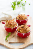 Ham, cheese and tomato muffins Royalty Free Stock Photos