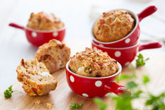 Ham, cheese and tomato muffins Royalty Free Stock Image