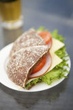 Ham, cheese and tomato sandwich Royalty Free Stock Images
