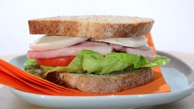 Ham, cheese and tomato sandwich stock video footage